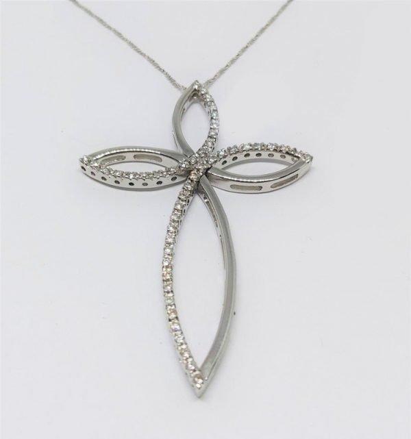 Catenina con Croce in Oro bianco e diamanti